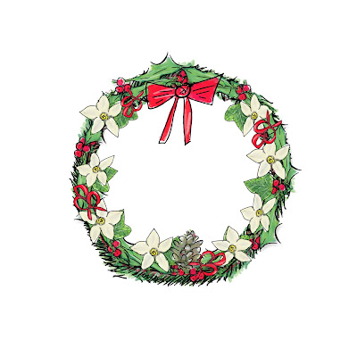 Christmas wreath with hand-drawn fir, hplly and ribbon elements