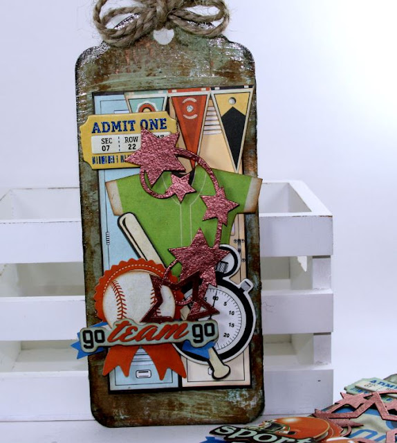 Sport Tag Decor By Ginny Nemchak Using the BoBunny Game On Collection and Pentart Products