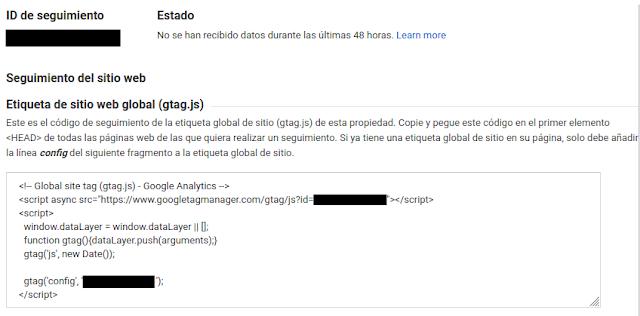ID de seguimiento y Script de Google Analytics