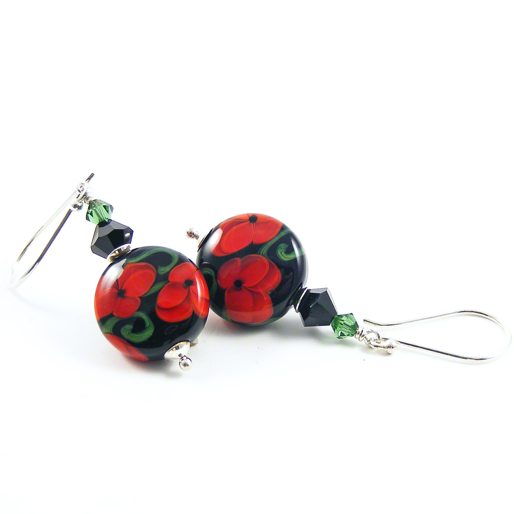 Black & Red Poppies Earrings by Erika Price