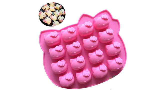 Silicone Mould Kitty Face Pink