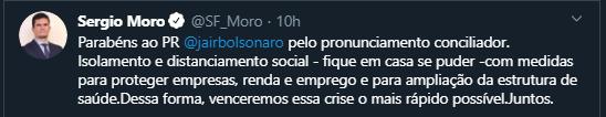 Moro ddefende Bolsonaro