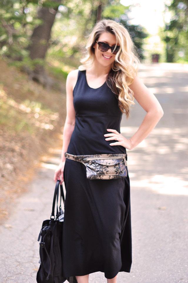 contempo casuals dress, hip bag, stella mccartney sunglasses