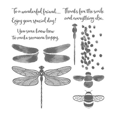 This picture shows the stamped images that comprise the Dragonfly Dreams stamp set by Stampin' Up!