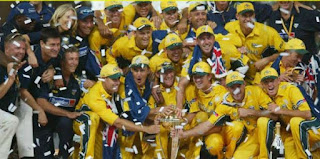 beautiful scene of ICC Cricket World Cup 2003 Winner team Australia holding trophy