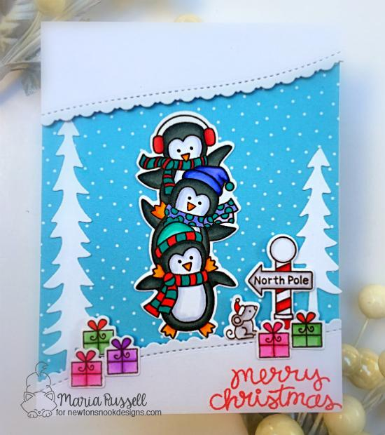 Penguin Card by Maria Russell | Penguin Pile Stamp Set, Santa Paws Newton Stamp Set and Forest Scene Builder Die Set by Newton's Nook Designs #newtonsnook #handmade