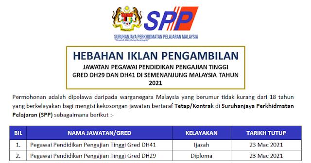 spp semenanjung malaysia jawatan kosong