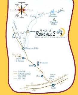 Mapa para llegar a la Masía de Roncales.