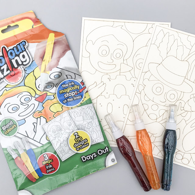 Contents of the ColourMazing packet, including card pictures and ink pens