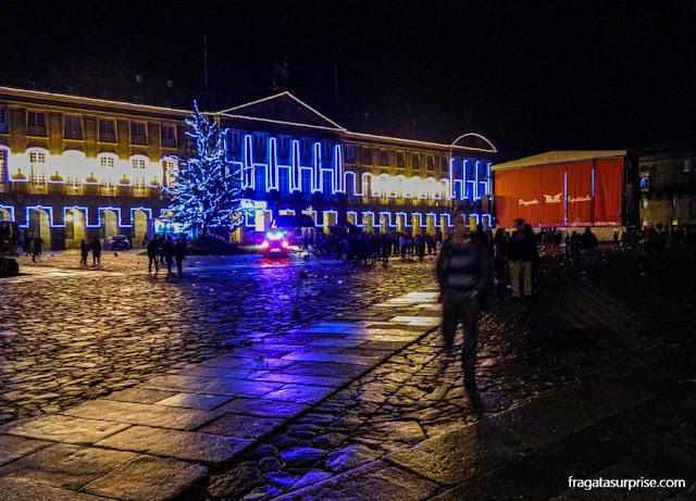 Festa de Ano Novo na Praça do Obradoiro, Santiago de Compostela, Galícia, Espanha