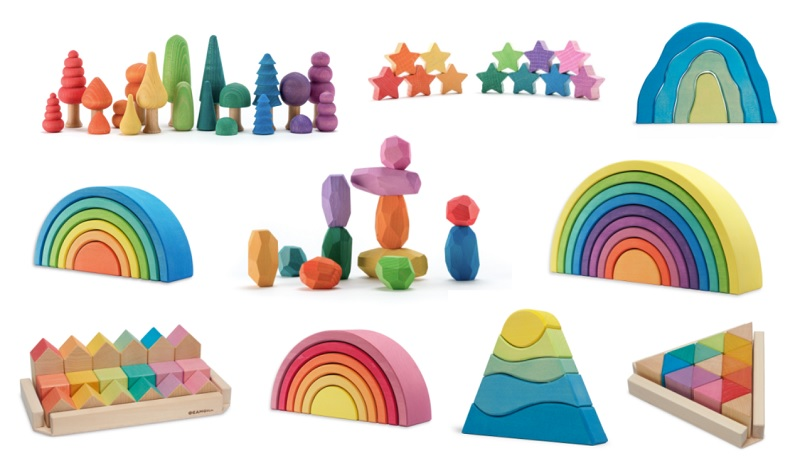 ocamora wooden rainbows, trees, bonsais, houses and teniques