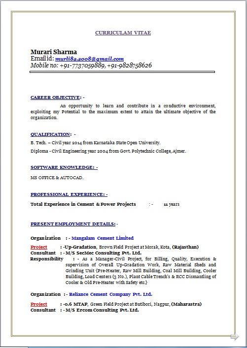 Resume Blog Co Resume Sample Of B Tech Amp Diploma