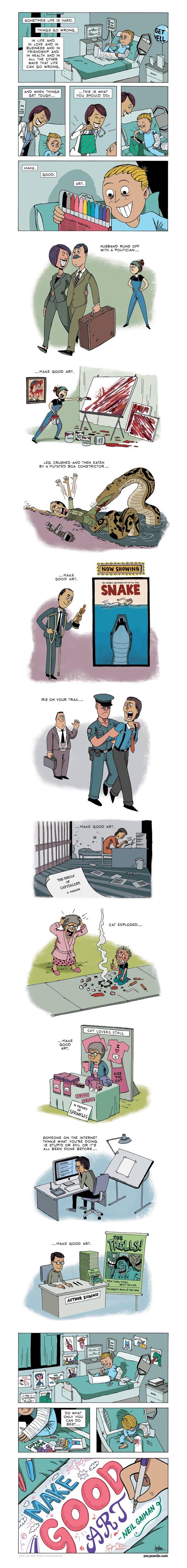 Cansaço psicológico + make good art make good art cartoon