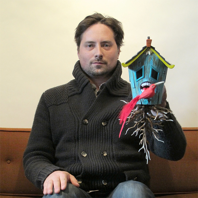 Blaine Fontana with hand-painted version of Domestic Hunger