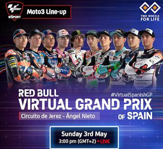 Resultado Carrera Virtual de Moto3 España Jerez 3 mayo 2020