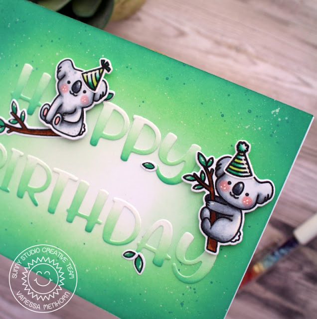 Sunny Studio Stamps: Outback Critters Chloe Alphabet Dies Birthday Card by Vanessa Menhorn