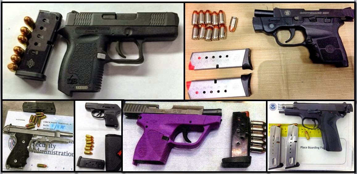 Clockwise from top left, firearms discovered at: BNA, IAH, TUL, TPA, PHX & ONT