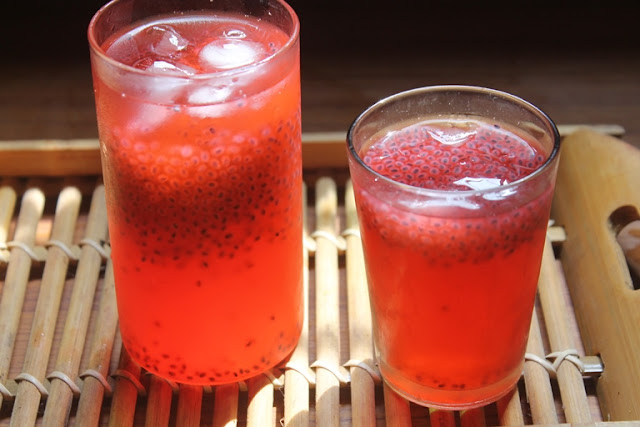 Rose Sabja Lemonade Recipe - Rose Lemon Juice Recipe