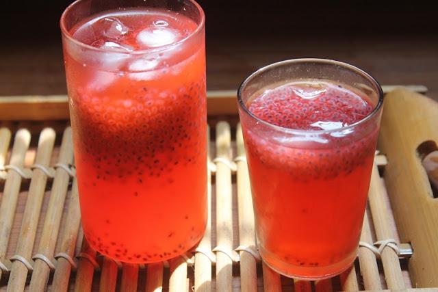 Rose Sabja Lemonade Recipe - Rose Lemon Juice Recipe