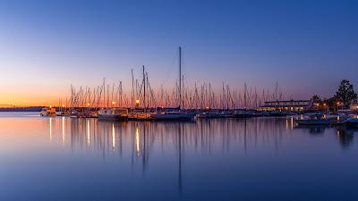 Wallpaper Boat Pier Sunset Twilight Sky