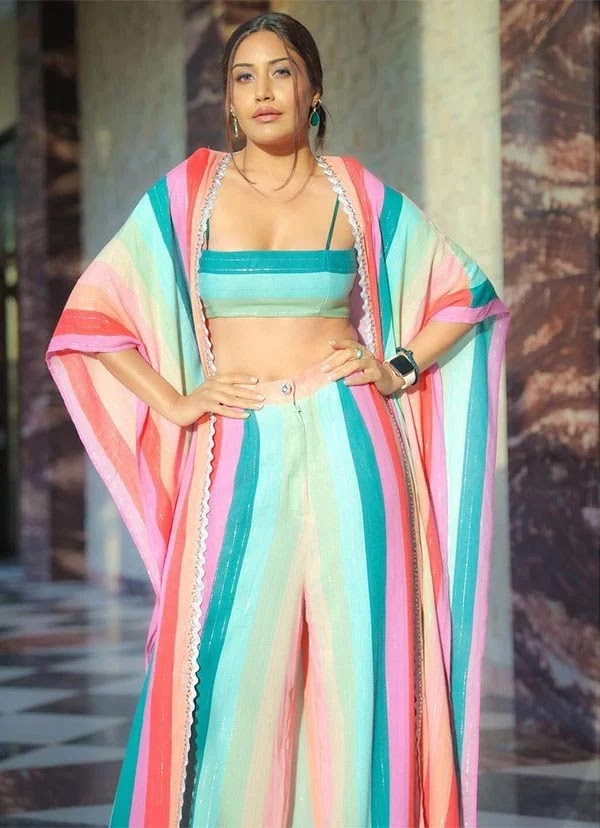 Surbhi Chandna looks stunning in this multi-colored stripped outfit