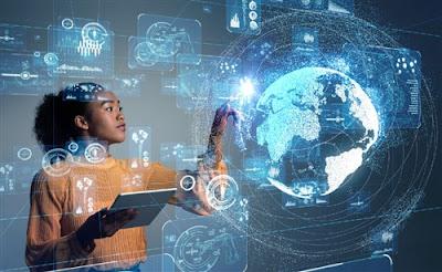 A woman operating an AI computer