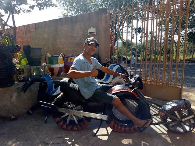 GRUPIARA: Trabalho com pneus é arte nas mãos de Luiz André