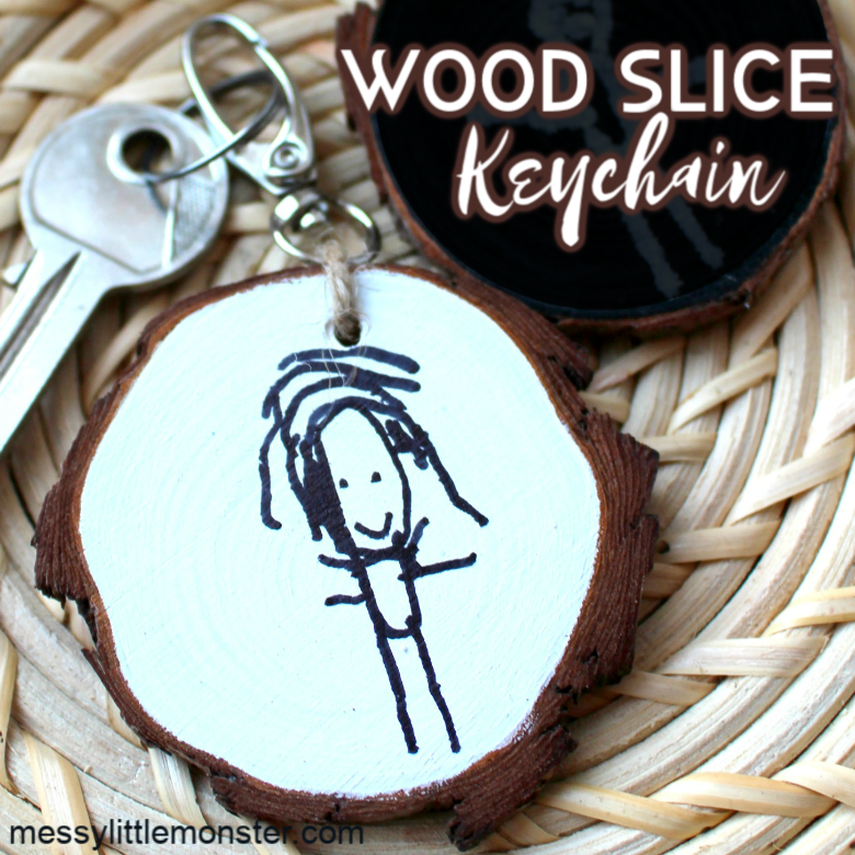 DIY keychain wood slice craft