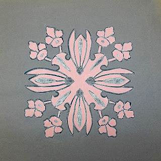 Pink orchid design on grey