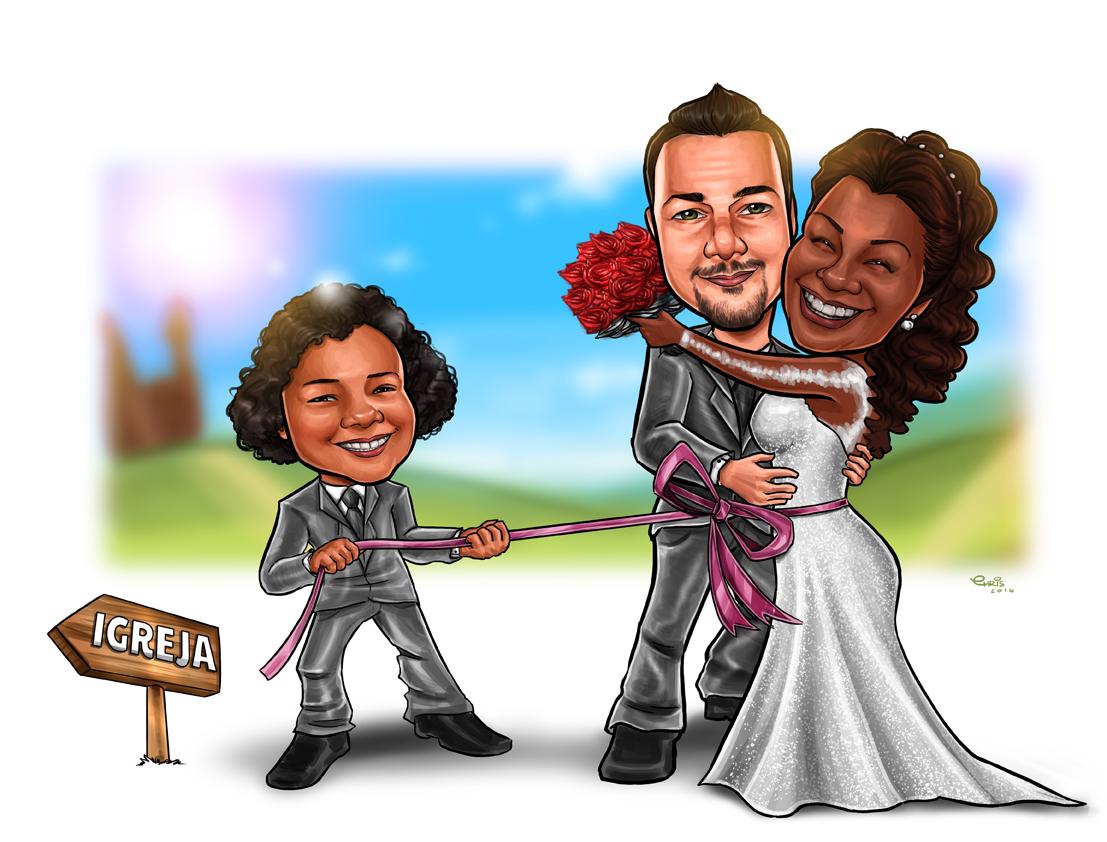 caricatura casamento ibipora parana