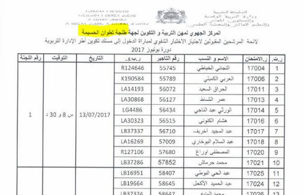 نتائج الشق الكتابي من مباراة مسلك الادارة 2017 جهة طنجة تطوان الحسيمة