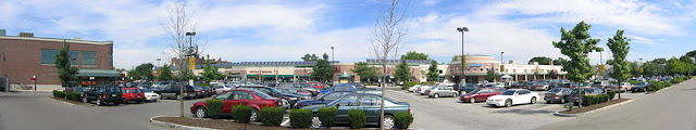 Panoramic view of a shopping mall