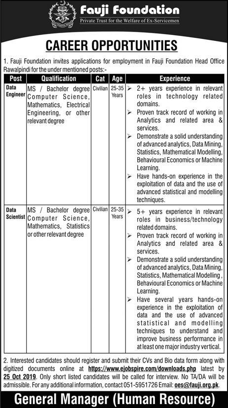 Fauji Foundation Jobs 2019 for Data Engineer and Data Scientist