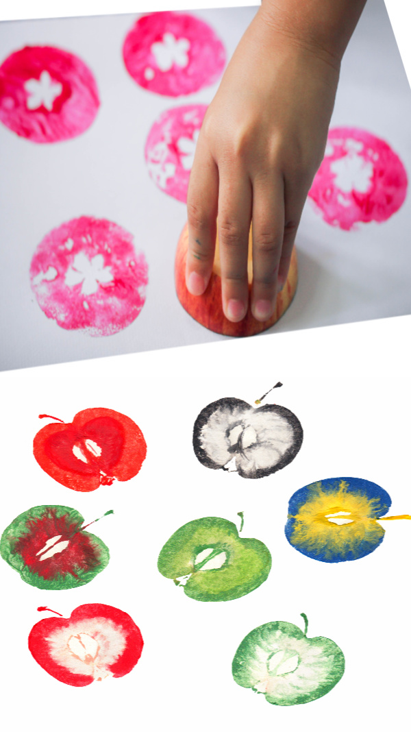 Turn apples into art and make apple stampers.  Fall preschool printing craft for kids. #applestamping #applestampingcraft #applestamps #applecrafts #applecraftsforkids #appleactivities #appleprints #appleprinting #fallcrafts #growingajeweledrose #activitiesforkids