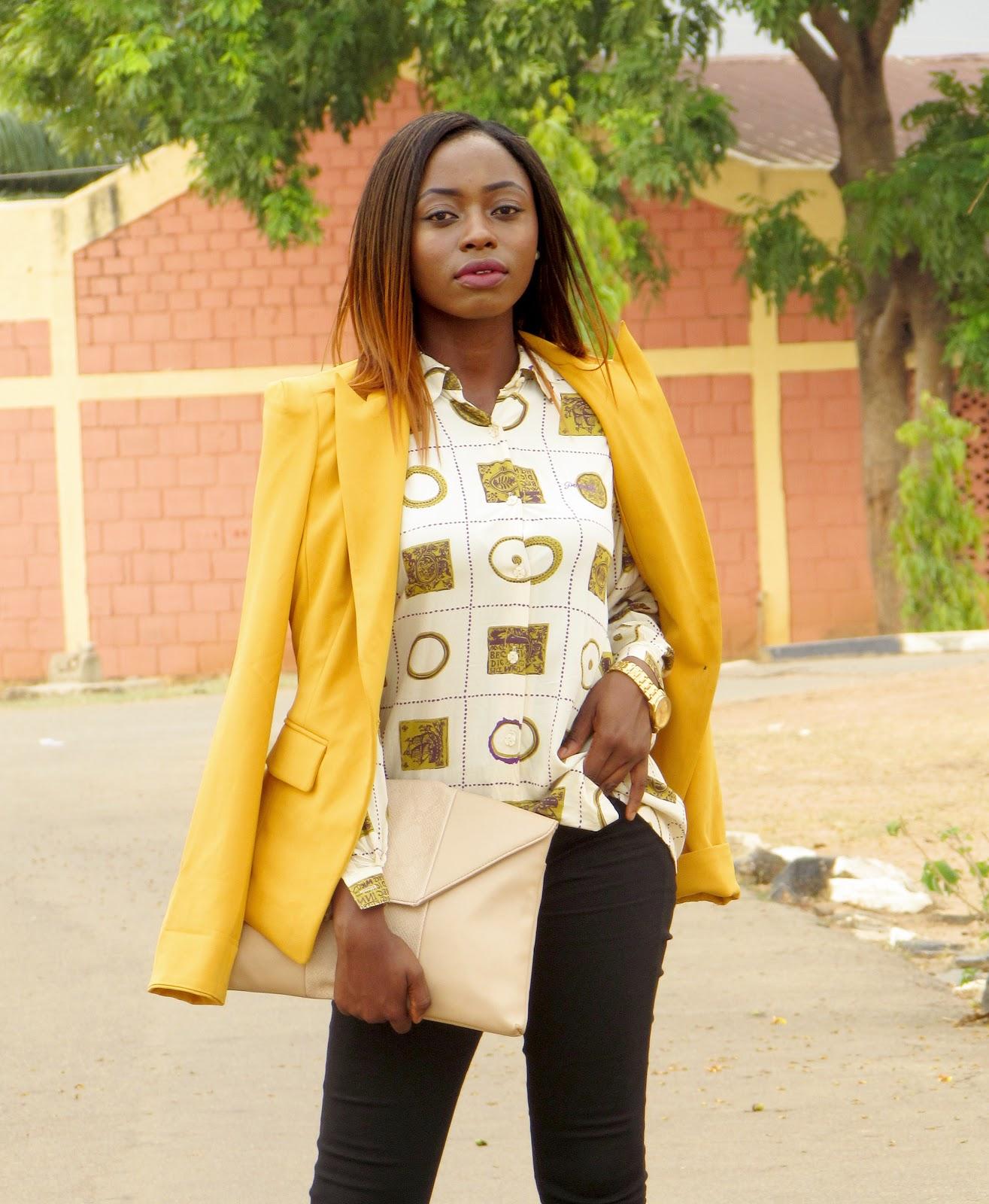 mustard blazer, vintage shirt