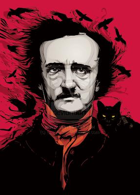 Retrato de Edgar Allan Poe con cuervos y gato negro.
