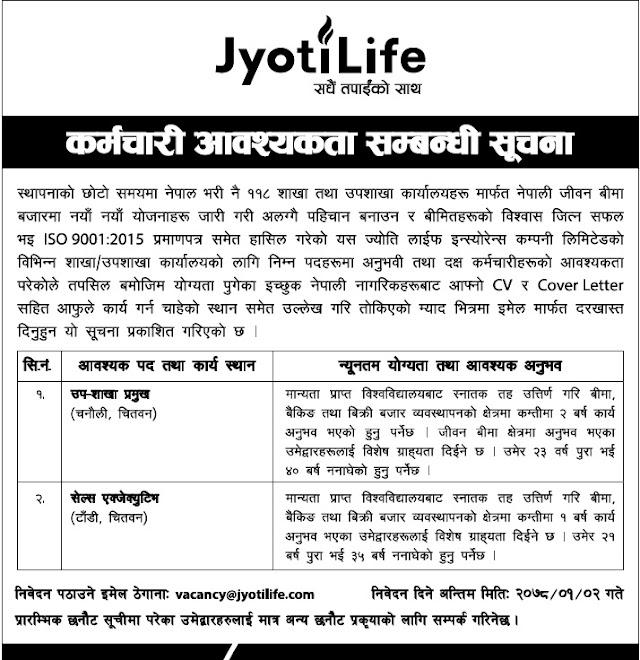 Jyoti Life Insurance Company Vacancy Announcement