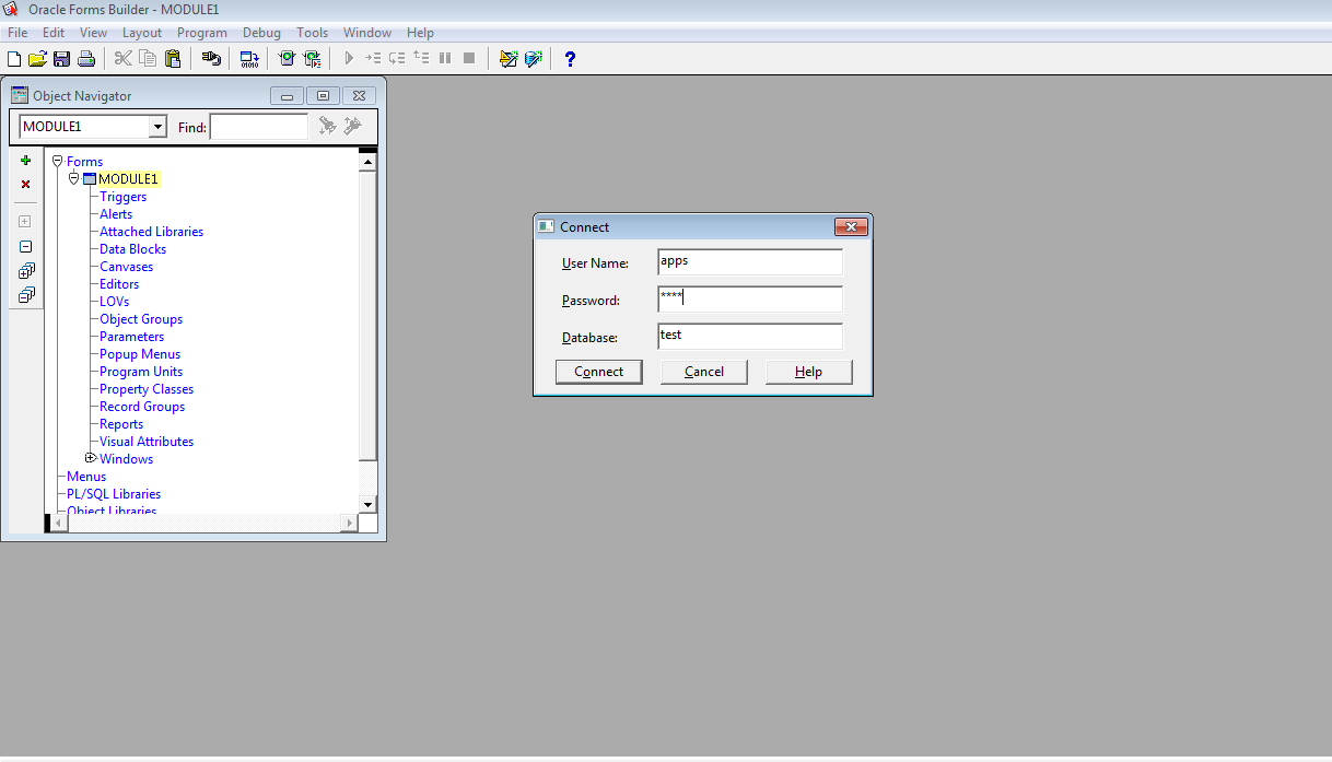 How to connect database from oracle form builder - Oracle Appplications