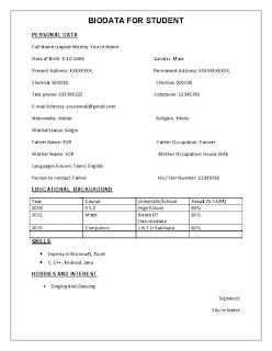 BIODATA Form for student Sample