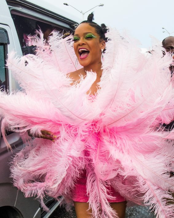 Rihanna goes funky in pink for the Kadooment Day Parade