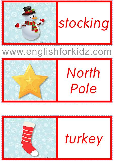 Printable Christmas domino cards for children