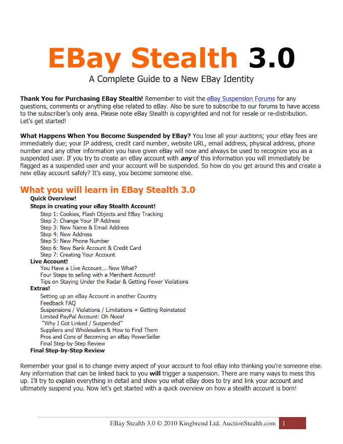 eBay Stealth Guide, Kingbrend Ltd