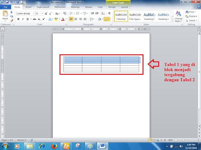 Cara Mengabungkan Atau Memisahkan Tabel di Ms Word