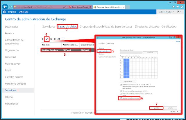 Habilitar el Registro Circular Microsoft Exchange 2013.