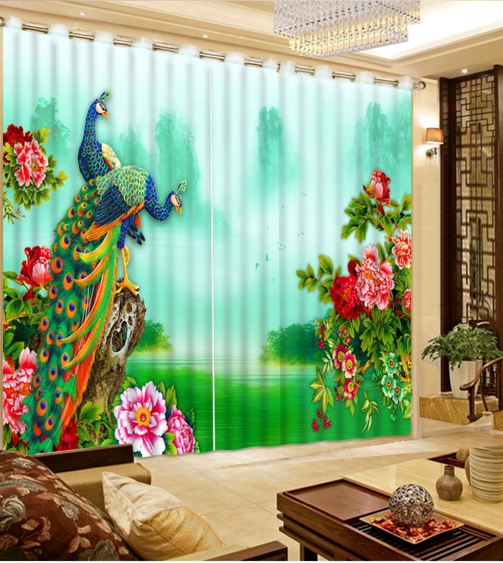 room 3d curtains with peacock flowers 3d font living room window