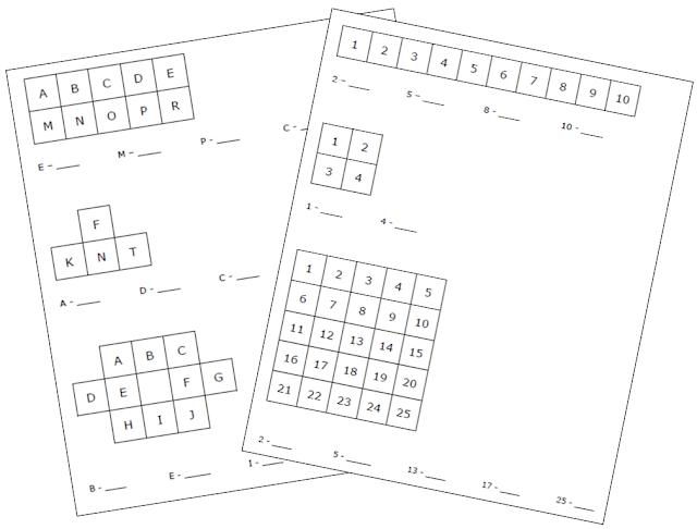 na zdjęciu dwie kartki z liczbami i literami wpisanymi w tabelkach