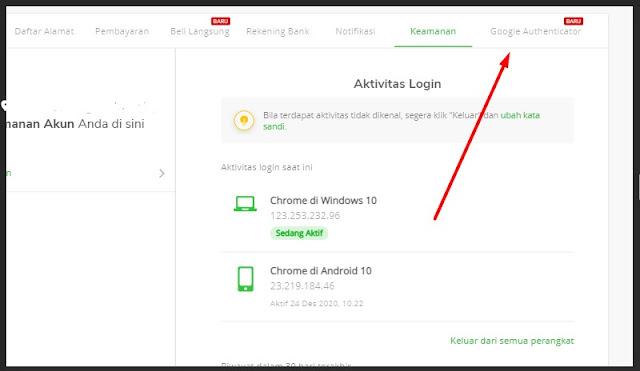 pengaturan aplikasi authenticator di Tokopedia