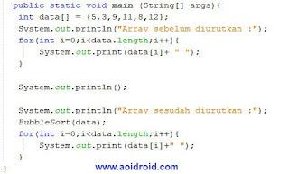 kode bubble sort ascending java