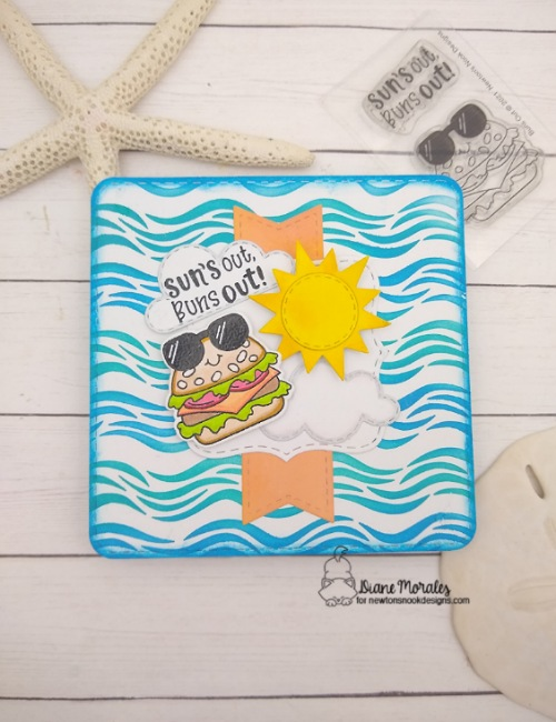 Sun's out, buns out by Diane features Sky Scene Builder, Buns Out, Frames Squared, Frames & Flags, and Waves by Newton's Nook Designs; #inkypaws, #newtonsnook, #summercards, #cardmaking