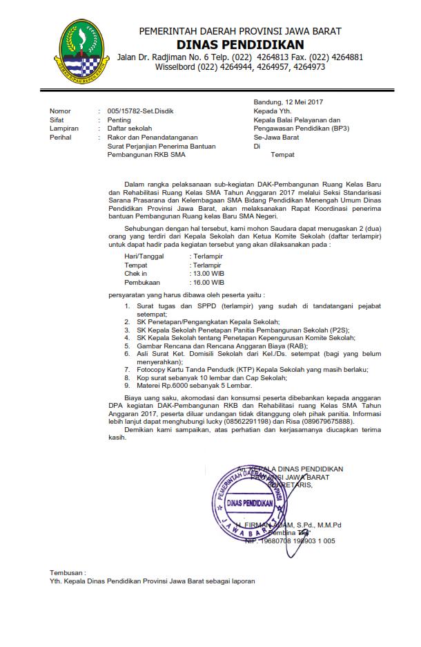 Surat Undangan Rakor Penerima Bantuan Pembangunan Rkb Sma